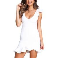 Relipop Women's Dresses V-Neck Strappy Backless Ruffle Hem Fishtail Solid Mini Short Dress at  Women's Clothing store