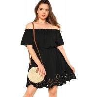 Romwe Women's Plus Size Off The Shoulder Hollowed Out Scallop Hem Party Short Dresses at  Women's Clothing store