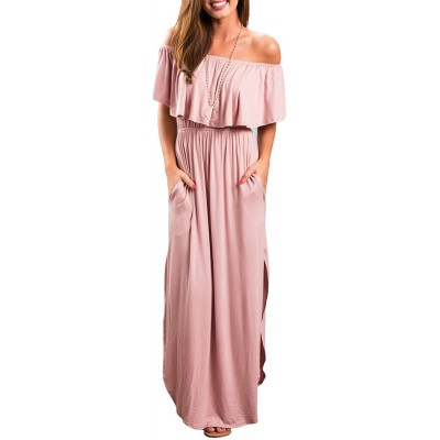 Sarin Mathews Womens Off The Shoulder Ruffle Party Dress Casual Side Split Beach Long Maxi Dresses with Pockets at  Women's Clothing store