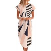 TEMOFON Women's Dresses Summer Floral Geometric Pattern Short Sleeve Midi V-Neck Casual Dress with Belt S-2XL at  Women's Clothing store