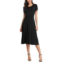 Urban CoCo Women's Short Sleeve Waisted Slim Fit Midi Dress at  Women's Clothing store