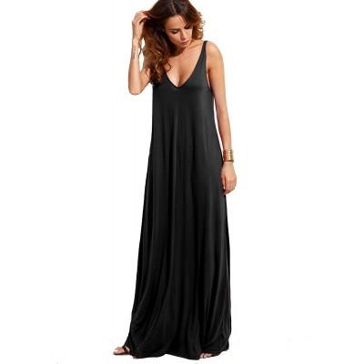 Verdusa Women's Casual Sleeveless Deep V Neck Summer Beach Maxi Long Dress at  Women's Clothing store