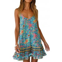 Womens Boho Floral Printed Dress Summer Sleeveless Adjustable Strap Beach Mini Dress with Pockets at  Women's Clothing store
