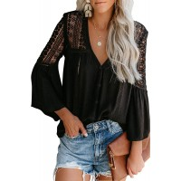 Elapsy Womens V Neck Lace Crochet Shirts Bell Sleeve Button Down Casual Tunic Blouses Tops at  Women's Clothing store