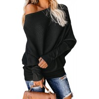 Exlura Women's Off Shoulder Batwing Sleeve Ribbed Shirt Loose Pullover Tops at  Women's Clothing store