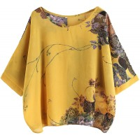 Milumia Women's Florals Batwing Sleeve Button Back Chiffon Blouse at  Women's Clothing store