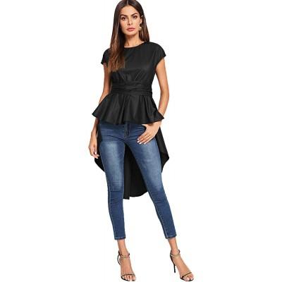 Romwe Women's Asymmetrical High Low Ruffle Blouse Self Tie Split Back Party Tops at Women's Clothing store
