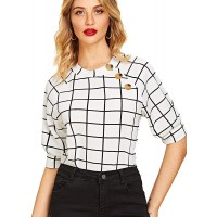 Romwe Women's Puff Sleeve Casual Solid Top Buttons Side Blouse Shirt at  Women's Clothing store
