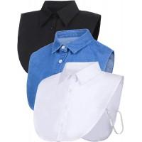 SATINIOR 3 Pieces Fake Collar Detachable Dickey Collar Blouse Half Shirts Collar at  Women's Clothing store