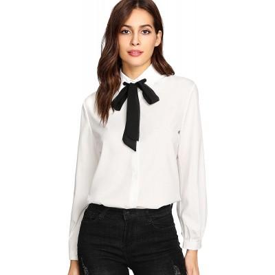 SheIn Women's Bow Tie Neck Ruffle Long Sleeve Chiffon Shirt Blouse Top at Women's Clothing store