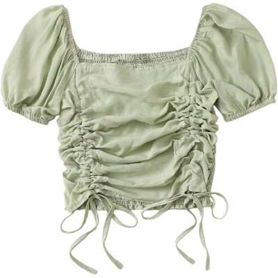 SheIn Women's Puff Short Sleeve Square Neck Shirred Drawstring Crop Blouse Top