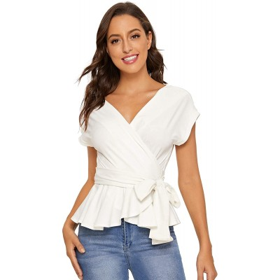 SheIn Women's Short Sleeve V Neck Ruffle Blouse Puff Sleeve Tie Waist Wrap Top at  Women's Clothing store