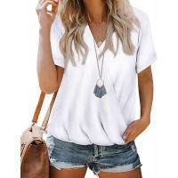 Sherosa Womens Short Sleeve Shirts V Neck Wrap Casual Summer Loose Tops Blouses at  Women's Clothing store