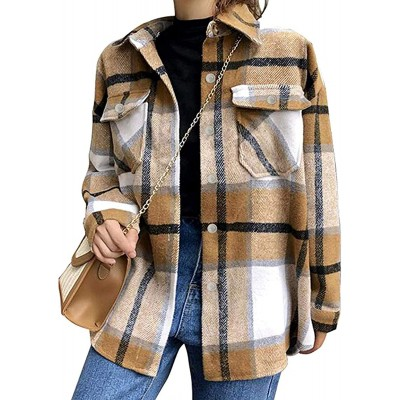 Tanming Womens Brushed Flannel Plaid Lapel Button Short Pocketed Shacket Shirts Coats at Women's Clothing store