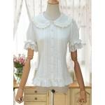 TanQiang Women's Sweet Lolita Shirt Short Puff Sleeve Flower Embroidered Peter Pan Collar White Ruffle Blouse at Women's Clothing store