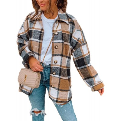 Women Long Sleeve Flannel Plaid Shirts Casual Button Down Shirt Jacket Cardigan at Women's Clothing store