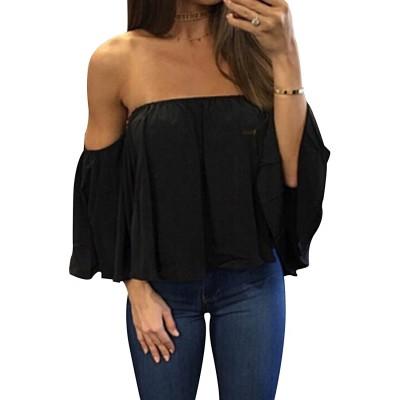 Women's Summer Off Shoulder Blouses Short Sleeves Sexy Tops Chiffon Ruffles Casual T Shirt at Women's Clothing store