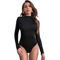 Floerns Women's Long Sleeve Rib Knit Slim Fit Bodysuit Jumpsuit