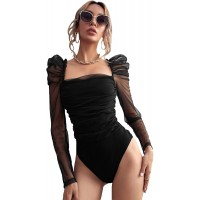 Floerns Women's Puff Sleeve Square Neck Mesh Surplice Ruched Bodysuit Tops Jumpsuits