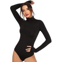 Floerns Women's Solid Leotard Long Sleeve Turtleneck Bodysuit
