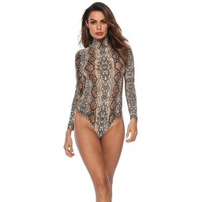 HUILAN Women's Long Sleeve Leopard Print High Neck Bodysuit Tops at Women's Clothing store