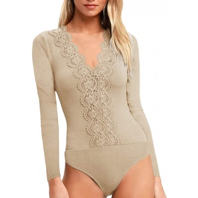 REORIA Women's Sevy Lace V Neck Long Sleeve Elastic Leotard Bodysuit Tops Jumpsuit