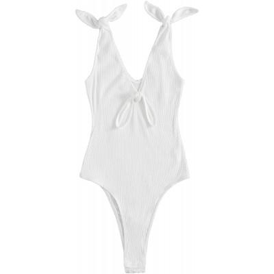 Romwe Women's Sexy Sleeveless Tie Knot Strap Deep V Neck Rib Knit Cami Bodysuit Tops