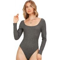 SweatyRocks Women's Basic Long Sleeve Open Back Scoop Neck Bodysuits Jumpsuit Tops